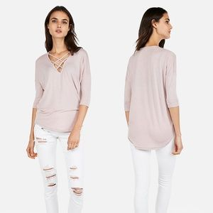 Express One Eleven Strappy T-shiry Tee Blush Pink